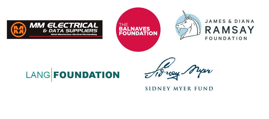 Five logos for MM Electrical & Data Supply, The Balnaves Foundation, James & Diana Ramsay Foundation, the Lang Foundation, and the Sidney Myer Fund
