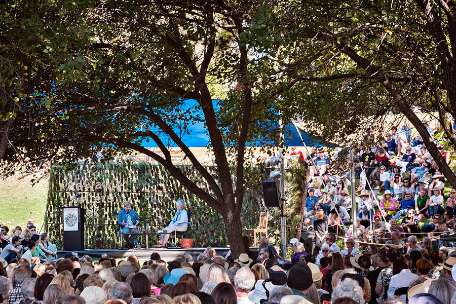 Looking at the East Stage of Adelaide Writers' Week with a massive crowd sitting in the shade of the trees