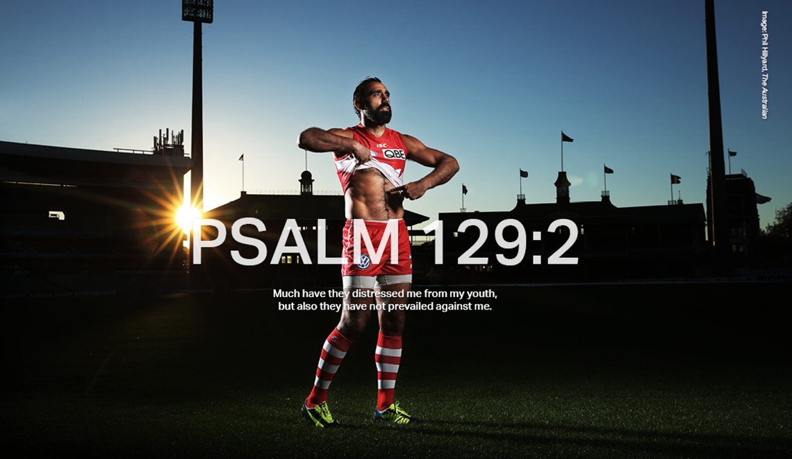 To commemorate 20 years since St Kilda's Nicky Winmar took a stance against racism in the AFL, Adam Goodes, one of the greatest Indigenous players of the game, re-enacts the moment ahead of the AFL Indigenous Round.