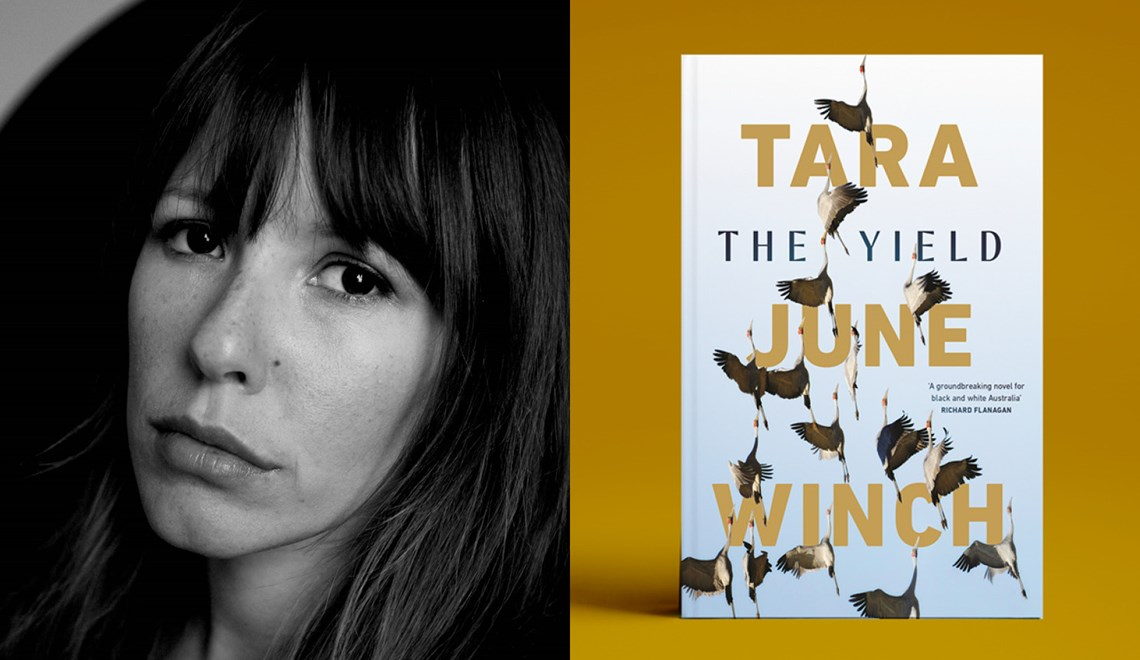 Tara June Winch with the cover of her book The Yield