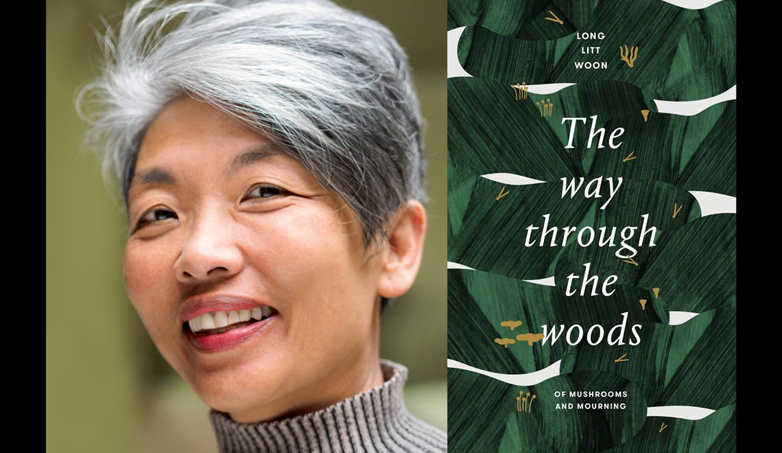 Long Litt Woon alongside the cover of her book The Way through the woods