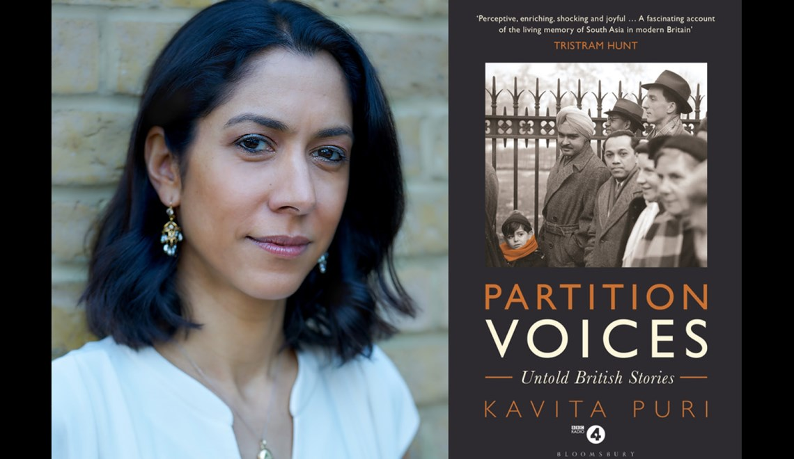 Kavita Puri's headshot alongside the cover of her book Partition Voices