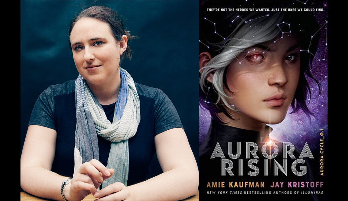 Amie Kaufman's headshot alongsidethe cover of her last book Aurora rising