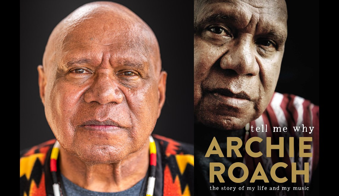 Archie Roach alongside the cover of his book