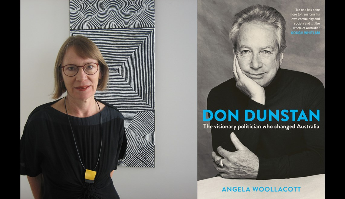 Angela Woollacott's headshot alongside the cover of her book about Don Dunstan