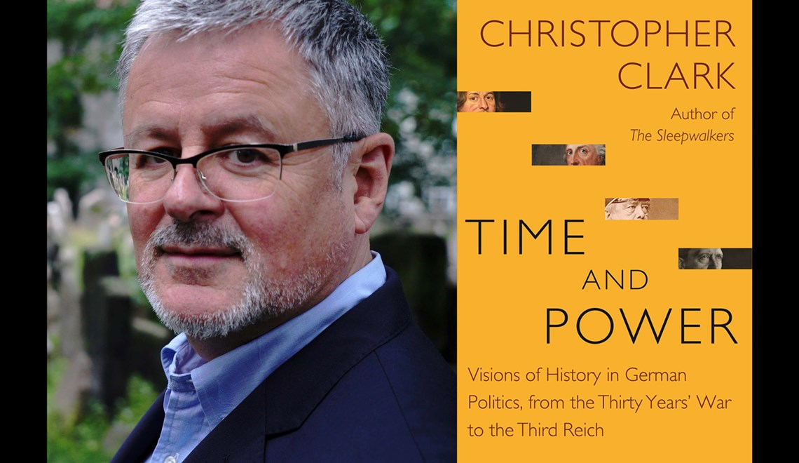 Christopher Clark's headshot alongside the cover of his book Time and Power